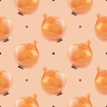 Seamless pattern with onions. Ripe onion. Wallpaper, print, textile design, paper, packaging. Vector illustration.