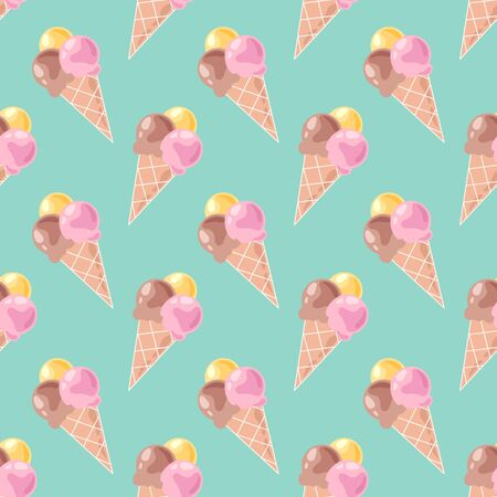 Seamless pattern with ice cream on mint background. Multicolored and delicious balls of ice cream in a waffle cone. Vector illustration.