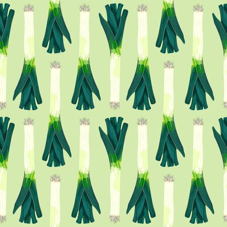 Seamless pattern with leek. Stylized green leek. Wallpaper, print, wrapping paper, banner, poster, promotional material. Vector illustration.