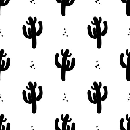 Seamless pattern with cactus. Abstract and colorful plants, succulents. Wallpaper, print, modern textile design, poster, wrapping paper. Vector illustration. 向量圖像
