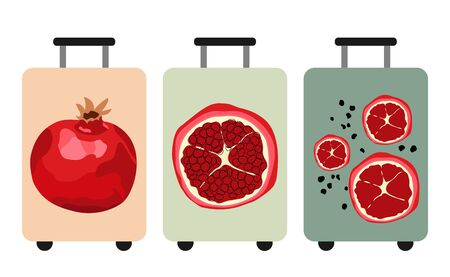 Set of travel suitcases with pomegranate print. Red ripe pomegranates. Vector illustration.
