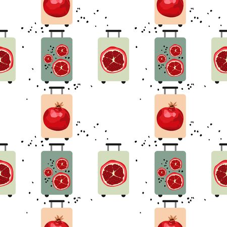 Seamless pattern with suitcases and prints with pomegranates. Suitcase for travel. Ripe red pomegranate with seeds. Vector illustration.