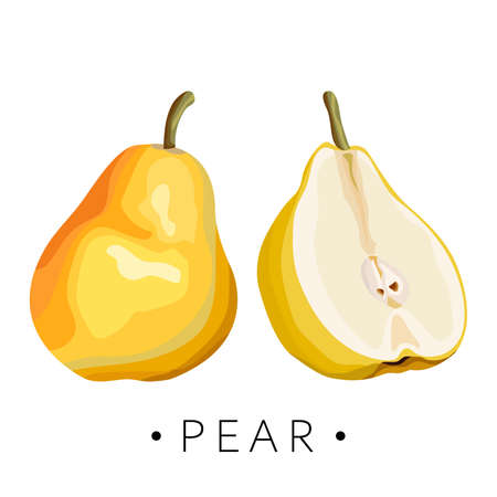 Stylized yellow pear on a white background. Ripe pears. Wrapping paper, print, card. Vector illustration.