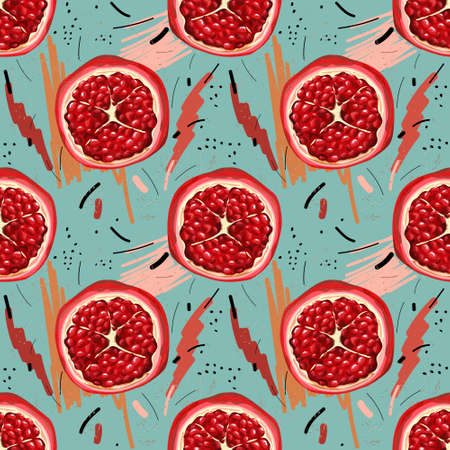 Seamless pattern with pomegranates on an abstract background. Halves of ripe red pomegranate with seeds. Print, wallpaper, modern textile design, wrapping paper. Vector illustration.