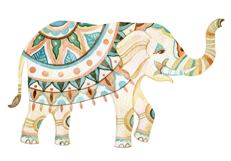 Watercolor elephant in bohemian style. Ornate elephant in pastele colors isolated on white background. Hand drawn illustration for design in tribal or boho styles Banque d'images