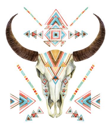 部族スタイルで牛の頭蓋骨。民族の飾りと動物の頭蓋骨。白い背景に分離されたバッファローの頭蓋骨。野生および自由設計。水彩の手描きのイラ