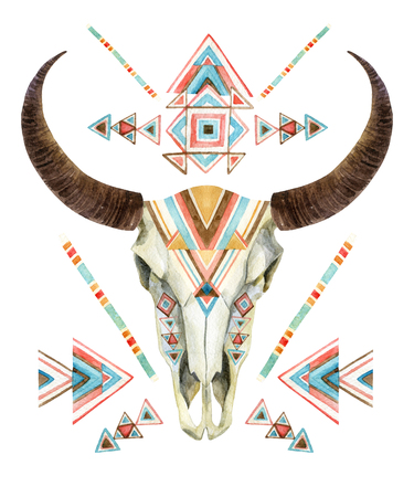 Cow skull in tribal style. Animal skull with ethnic ornament. Buffalo skull isolated on white background. Wild and free design. Watercolor hand painted illustration. Banque d'images