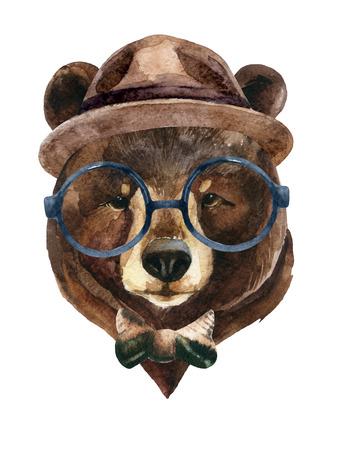 Draag hoofd in hipster-stijl. Waterverf beer schilderij illustratie geïsoleerd op een witte achtergrond Stockfoto