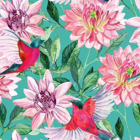 finch: Watercolor asters and birds seamless pattern. Hand painted illustration