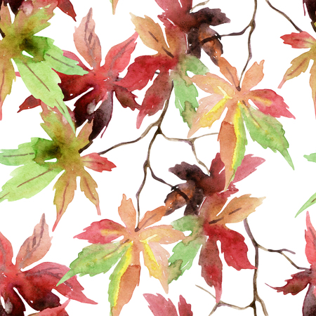 japanese maple: Watercolor japanese maple leaves seamless pattern. Fall maple branch background. Hand painted autumn illustration