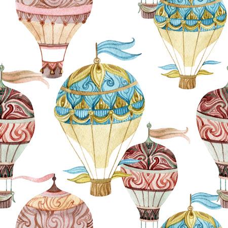 エアロスタット ヴィンテージ シームレス パターン。水彩熱気球。手描きの白い背景のイラスト