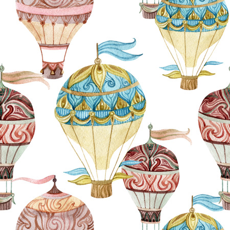 Aerostat vintage seamless pattern. Watercolor hot air balloons. Hand painted illustrations on white background