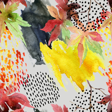 Autumn watercolor japanese maple leaf and doodle seamless pattern. Doodles and watercolour paper textures drawing. Abstract and natural elements background for fall design. Hand painted illustration Stock Photo