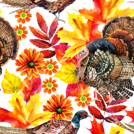 Autumn watercolor seamless pattern with turkey bird, pheasant and autumn leaves and flowers. Hand painted fall illustration Imagens