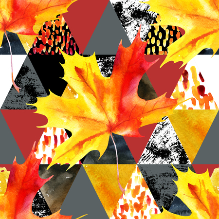 paper textures: Autumn leaves watercolor seamless pattern. Maple leaf on triangles with grunge, watercolor paper textures. Geometric natural background for fall design. Hand painted illustration