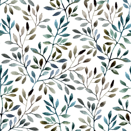 tree line: Watercolor seamless pattern with tree branches. Autumn background