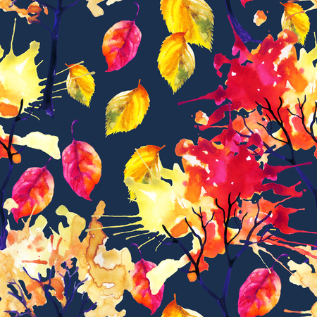 falling leaves: Watercolor autumn trees and falling leaves seamless pattern. Watercolour trees with colorful foliage. Hand painted illustration on dark blue background
