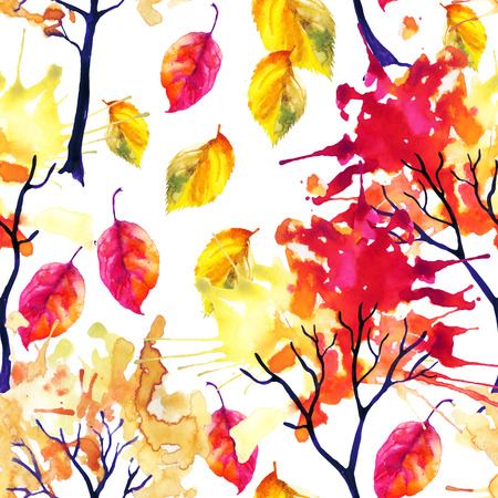 falling leaves: Watercolor autumn trees and falling leaves seamless pattern. Watercolour trees with colorful foliage. Hand painted illustration on white background Stock Photo