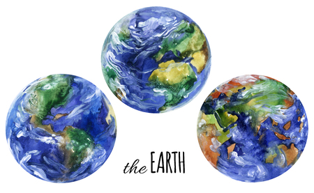 americas: Watercolor planet earth views. Americas, europe and asia views. Hand painted planet set for the Earth day design. Watercolor  earth planet views illustration isolated on white background Stock Photo