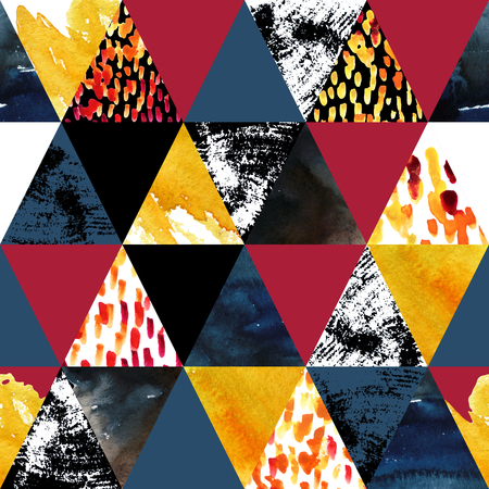 paper textures: Autumn inspired watercolor seamless pattern. Triangles with grunge, watercolor paper textures. Geometric background for fall design. Hand painted illustration