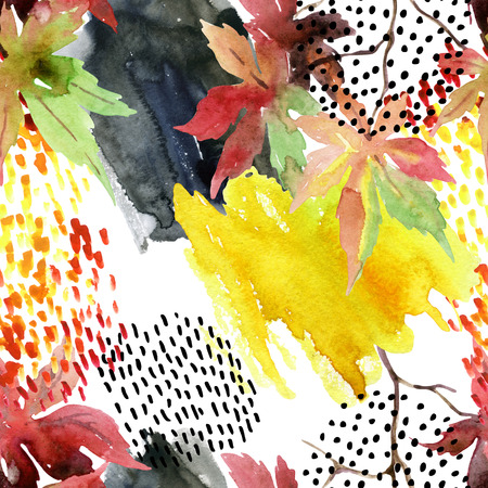 japanese maple: Autumn watercolor japanese maple leaf and doodle seamless pattern. Doodles and watercolour paper textures drawing. Abstract and natural elements background for fall design. Hand painted illustration Stock Photo