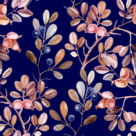 fall winter: Watercolor seamless pattern with Dog Rose and blackthorn branches. Hand painted autumn background