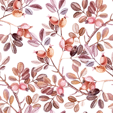 fall winter: Watercolor seamless pattern with Dog Rose branches. Autumn background