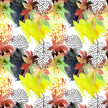 秋の水彩もみじ葉し、のシームレスなパターンを落書き。いたずら書きや水彩紙の模様を描きます。秋デザインの抽象的な要素の背景。手描きのイ