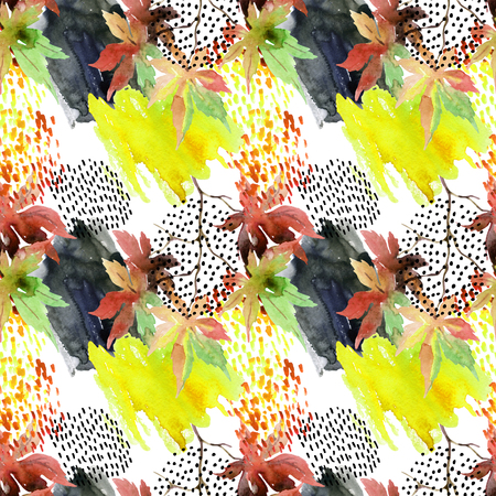Autumn watercolor japanese maple leaf and doodle seamless pattern. Doodles and watercolour paper textures drawing. Abstract and natural elements background for fall design. Hand painted illustration Banco de Imagens