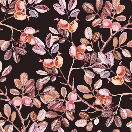 dog rose: Watercolor seamless pattern with Dog Rose branches. Autumn background