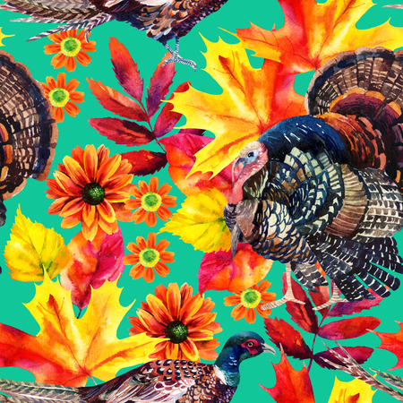 Autumn watercolor seamless pattern with turkey bird, pheasant and autumn leaves and flowers on bright background. Hand painted fall illustration Imagens - 64696876