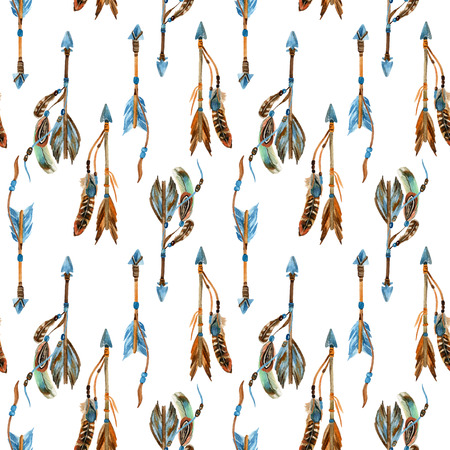 Watercolor tribal arrows seamless pattern. Hand drawn vintage illustration with arrows and feathers.
