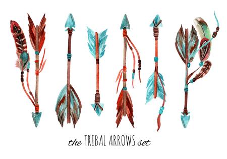 水彩の部族の矢印を設定します。手には、羽と矢印の付いたビンテージのイラストが描かれました。 写真素材