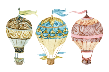 Aerostato conjunto de la vendimia. establece la acuarela globo de aire caliente. ilustraciones pintadas a mano aisladas sobre fondo blanco Foto de archivo - 64696886
