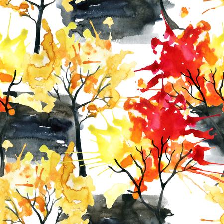 水彩秋木シームレス パターン。水彩のカラフルな木。手描きの秋デザインのツリーの図 写真素材