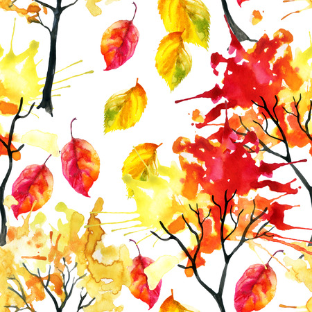 Watercolor autumn trees and falling leaves seamless pattern. Hand painted colorful illustration for fall design