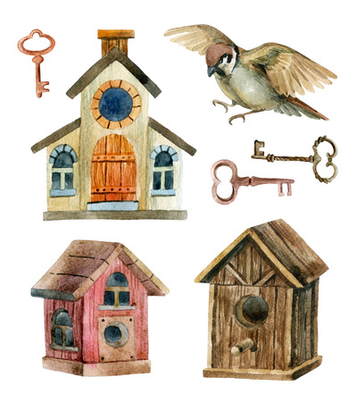 Retro birdhouses and keys. Three cute rustic birdhouses with sparrow. Hand painted illustration  Stock Photo