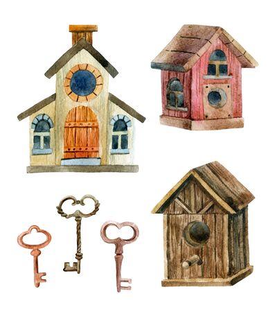 Retro birdhouses and keys. Three cute rustic birdhouses. Hand painted illustration  Stock Photo
