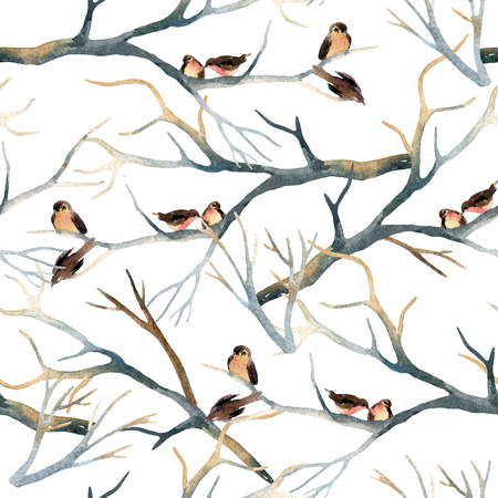 titmouse: Watercolor birds on the tree branches. Flock of birds in winter. Hand painted seamless pattern
