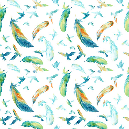Watercolor silhouettes of flying birds and feathers. Birds seamless pattern. Hand painted illustration in natural colors