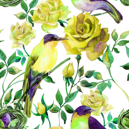 titmouse: Watercolor birds on the yellow roses. Hand painted seamless pattern on white background