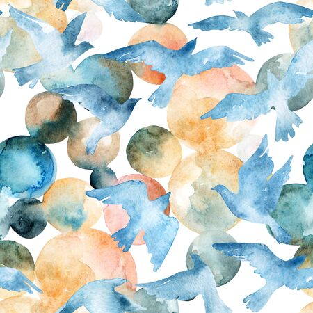 Watercolor silhouettes of flying birds. Birds seamless pattern. Hand painted illustration in natural colors