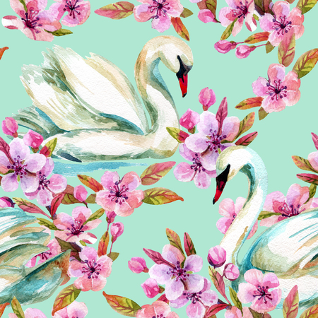 Watercolor swan and cherry bloom. Swimming bird among flowers seamless pattern. Hand painted illustration on blue background Stock Photo