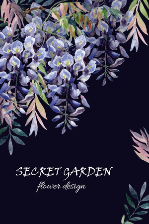 Wisteria flower. Watercolor wisteria card. Hand painted illustration on black background in retro style Banco de Imagens
