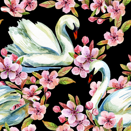 Watercolor swan and cherry bloom. Swimming bird among flowers seamless pattern. Hand painted illustration on black background Stock Photo