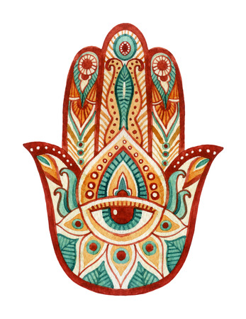 Hamsa Hand in watercolor. Protective and Good luck amulet in Indian, Arabic  Jewish cultures. Hamesh hand for tattoo, boho, yoga design, textiles elements etc. Hand draw illustration Stock Photo