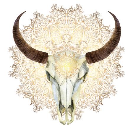 acuarela búfalo cráneo en el fondo de la mandala de oro. Cráneo animal en estilo boho, ilustración pintada a mano