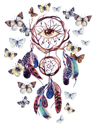 Dream catcher with feathers and all seeing eye. Watercolor ethnic dreamcatcher and butterfly isolated on white background. Hand painted illustration for your design Stock Photo