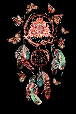 羽とピラミッドのすべての見る目のドリーム キャッチャー。水彩民族ドリーム キャッチャーと蝶の黒の背景に分離されました。手描きの設計図