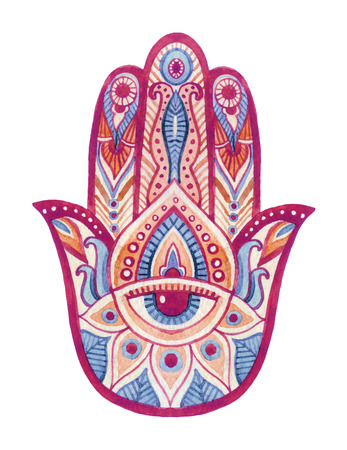 an amulet: Watercolor hamsa hand with ethnic ornaments and all seeing eye. Hand painted illustration for design in tribal, bohemian and ethnic styles. Stock Photo